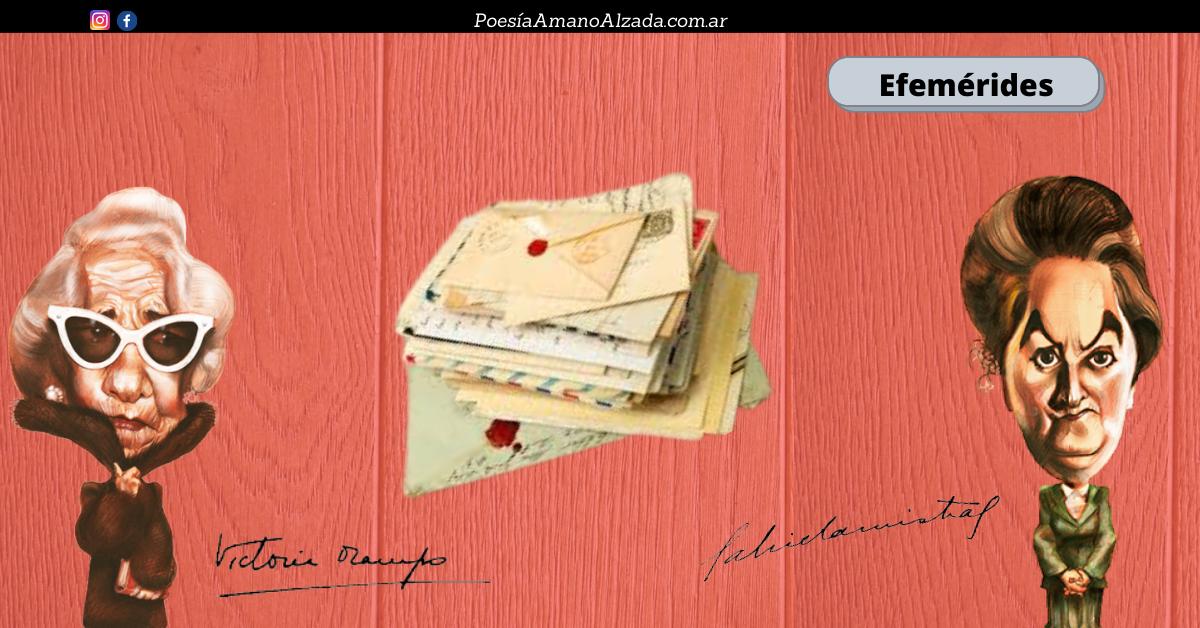 Collage de PAMA. Durante treinta años Mistral y Ocampo se enviaron correspondencias.  La imagen muestra una ilustración de Ocampo y Mistral unidas, entre ambas, por una pila de viejas cartas