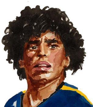 Diego Armando Maradona, ilustrado por Daniel Brandimarte (Acuarela).