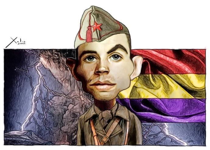 Ilustración de Miguel Hernández, según la mirada del artista y músico español Xulio Formoso